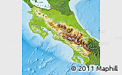 Physical Map of Costa Rica, satellite outside, shaded relief sea