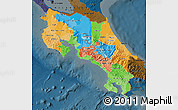 Political Map of Costa Rica, darken