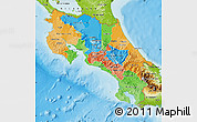 Political Map of Costa Rica, physical outside