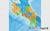 Political Map of Costa Rica, political shades outside