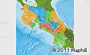 Political Map of Costa Rica, satellite outside, bathymetry sea