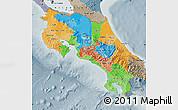 Political Map of Costa Rica, semi-desaturated