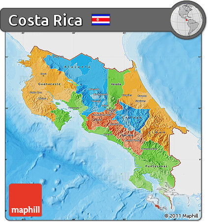 Free Political Map Of Costa Rica Single Color Outside