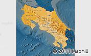 Political Shades Map of Costa Rica, darken