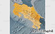 Political Shades Map of Costa Rica, darken, semi-desaturated