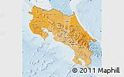 Political Shades Map of Costa Rica, lighten