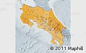 Political Shades Map of Costa Rica, lighten, semi-desaturated