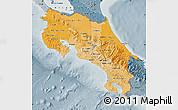 Political Shades Map of Costa Rica, semi-desaturated