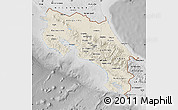 Shaded Relief Map of Costa Rica, desaturated
