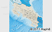 Shaded Relief Map of Costa Rica, political shades outside, shaded relief sea