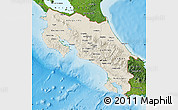 Shaded Relief Map of Costa Rica, satellite outside, shaded relief sea