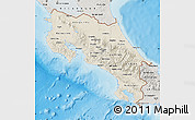 Shaded Relief Map of Costa Rica, semi-desaturated, land only