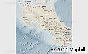 Shaded Relief Map of Costa Rica, semi-desaturated