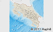 Shaded Relief Map of Costa Rica, single color outside