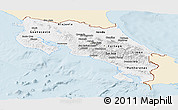 Classic Style Panoramic Map of Costa Rica, single color outside
