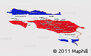 Flag Panoramic Map of Costa Rica