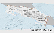 Gray Panoramic Map of Costa Rica, single color outside