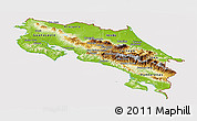Physical Panoramic Map of Costa Rica, cropped outside