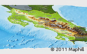 Physical Panoramic Map of Costa Rica, darken, land only