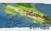 Physical Panoramic Map of Costa Rica, darken