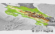 Physical Panoramic Map of Costa Rica, desaturated
