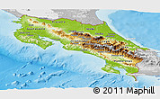 Physical Panoramic Map of Costa Rica, lighten, desaturated, land only