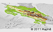 Physical Panoramic Map of Costa Rica, lighten, desaturated