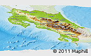 Physical Panoramic Map of Costa Rica, lighten, land only