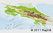 Physical Panoramic Map of Costa Rica, lighten