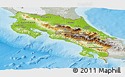 Physical Panoramic Map of Costa Rica, lighten, semi-desaturated, land only