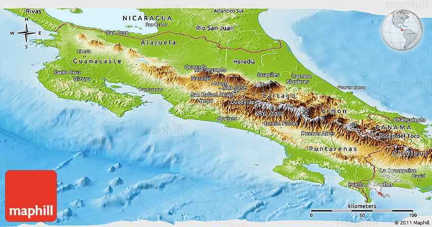 Physical Panoramic Map of Costa Rica