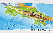 Physical Panoramic Map of Costa Rica, political outside