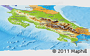 Physical Panoramic Map of Costa Rica, political outside, shaded relief sea