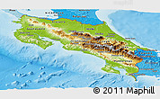 Physical Panoramic Map of Costa Rica, political shades outside, shaded relief sea