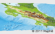 Physical Panoramic Map of Costa Rica, satellite outside, shaded relief sea