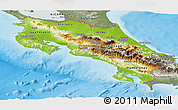 Physical Panoramic Map of Costa Rica, semi-desaturated, land only