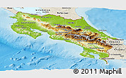 Physical Panoramic Map of Costa Rica, shaded relief outside