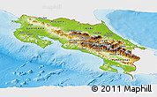 Physical Panoramic Map of Costa Rica, single color outside