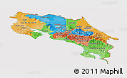 Political Panoramic Map of Costa Rica, cropped outside