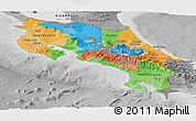 Political Panoramic Map of Costa Rica, desaturated