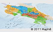 Political Panoramic Map of Costa Rica, lighten