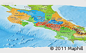 Political Panoramic Map of Costa Rica, physical outside