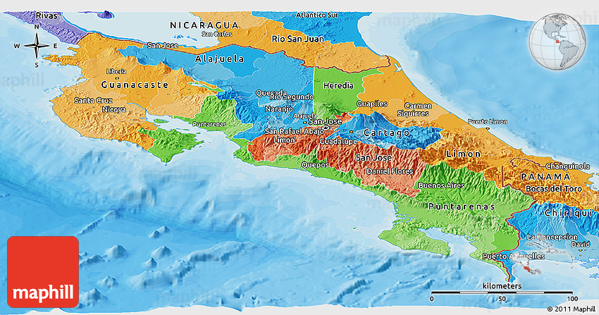 Political Panoramic Map Of Costa Rica