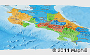 Political Panoramic Map of Costa Rica, political shades outside