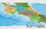 Political Panoramic Map of Costa Rica, satellite outside, bathymetry sea