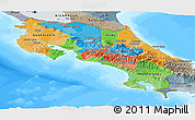 Political Panoramic Map of Costa Rica, semi-desaturated, land only