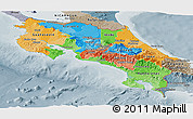 Political Panoramic Map of Costa Rica, semi-desaturated