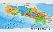 Political Panoramic Map of Costa Rica, shaded relief outside, bathymetry sea