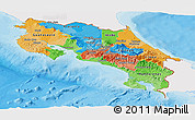 Political Panoramic Map of Costa Rica, single color outside