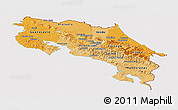 Political Shades Panoramic Map of Costa Rica, cropped outside